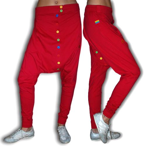 Dětské knoflíčkové harémky 632G - červená vel. bbda7427c3